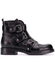 Albano Buckled Ankle Boots Black
