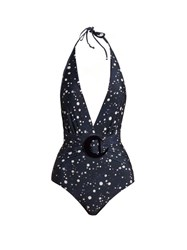 Adriana Degreas Constellation Print Plunging Swimsuit Navy Multi