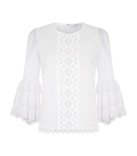 Andrew Gn Tiered Lace Frill Sleeve Blouse Female White