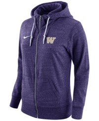 Nike Women's Washington Huskies Tailgate Gym Vintage Full Zip Hoodie Purple Heather