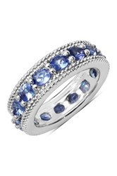 Olivia Leone Sterling Silver Oval Tanzanite And Milgrain Trim Ring Blue