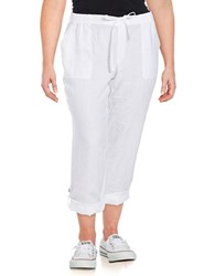 Lord And Taylor Plus Solid Straight Fit Linen Pants White
