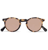 Oliver Peoples Gregory Peck Round Frame Two Tone Tortoiseshell Acetate Sunglasses Brown