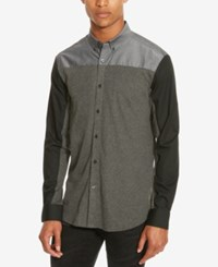 Kenneth Cole Reaction Men's Colorblocked Button Down Shirt Charcoal Heather Combo