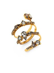 Erickson Beamon Double Coil Crystal Ring Gold