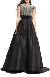 Mac Duggal Women's Crystal And Satin Ballgown Black