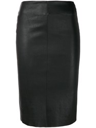 Drome Fitted Leather Skirt Black