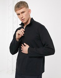 Weekday Tobias Halfzip Longsleeve In Black