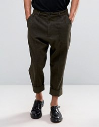 Asos Drop Crotch Cropped Wool Look Trousers With Heavy Turn Up Brown