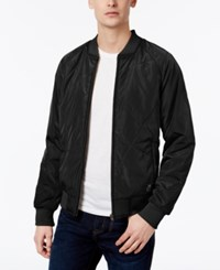 William Rast Men's Zane Engineered Quilted Bomber Jacket Black
