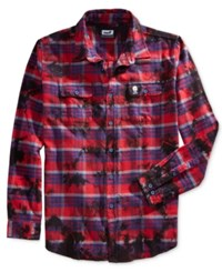 Neff Men's Long Sleeve Burger Boys' Plaid Shirt Red