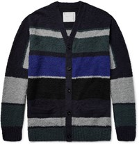 Sacai Colour Block Cotton Boucle Cardigan Midnight Blue