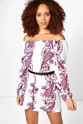 Boohoo Large Paisley Off The Shoulder Playsuit Multi