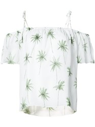 Milly Palm Print Off Shoulder Top Women Silk Polyester M White