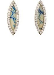 Monique Pean Women's White Diamond And Azurite Navette Stud Earrings Col Colorless