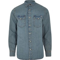 Jack And Jones River Island Mens Blue Vintage Denim Shirt