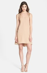 Women's Dress The Population 'Ella' Embellished Yoke High Low Chiffon Dress Blush