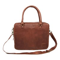 Mahi Leather Oxford Zip Up Satchel Briefcase Bag With 15 Laptop Capacity In Vintage Brown