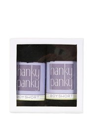 Hanky Panky Pack Of 2 Black Lace Boyshorts