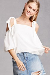 Forever 21 Self Tie Open Shoulder Top White