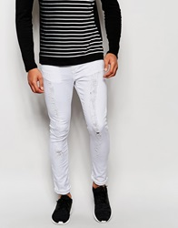 Jaded London Super Skinny Jeans With Extreme Distressing White