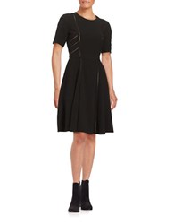Taylor Cutout Short Sleeve A Line Dress Black