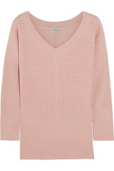 Temperley London Carmina Pointelle Knit Silk And Wool Blend Sweater Pink