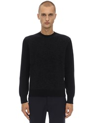 Z Zegna Crewneck Stretch Mohair And Wool Sweater Black