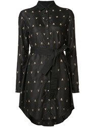 Maiyet Embroidered Shirt Dress Women Silk Cotton 2 Black