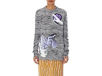 Proenza Schouler Women's Cotton Striped And Graphic Long Sleeve T Shirt No Color