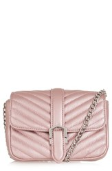 Topshop Magic Quilted Faux Leather Crossbody Bag Pink