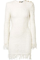 Balmain Button Embellished Fringed Metallic Tweed Mini Dress White