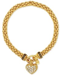 Nine West Weave Style Pave Heart Charm Stretch Bracelet Gold