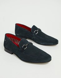 Base London Soprano Bar Loafers In Navy Suede