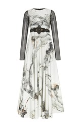 Antonio Marras Long Sleeve Printed Full Length Dress White Black