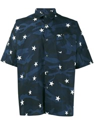 Sophnet. Camouflage Star Print Shirt Men Cotton S Blue