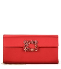 Roger Vivier Evening Evelope Flowers Satin Clutch Red