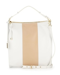 Taryn Colorblock Leather Hobo Bag White Latte Badgley Mischka