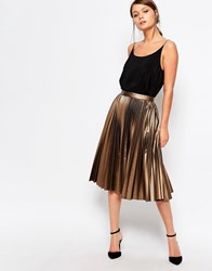 Closet Pleated Coated Midi Skirt Bronze