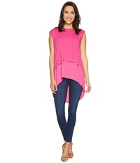 Vince Camuto Extended Shoulder High Low Mix Media Layered Blouse Electric Pink Women's Blouse