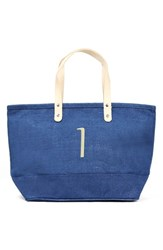 Cathy's Concepts 'Nantucket' Personalized Jute Tote Blue Blue I