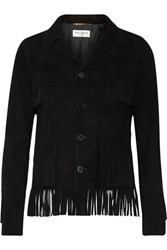 Saint Laurent Curtis Fringed Suede Jacket Black