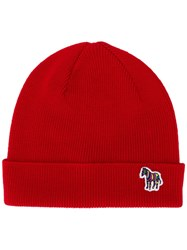 Paul Smith Ps By Ribbed Logo Beanie Red