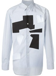 Comme Des Gara Ons Shirt Cut Out Striped Shirt White