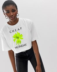 Cheap Monday Organic Cotton Roses Are Dread T Crop Shirt White
