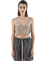 Calyx Callisto Silk Crop Top Beige
