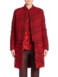 Akris Genesis Zebra And Cheetah Print Wool Parka Red Aubergine