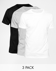 Asos T Shirt With Crew Neck 3 Pack Save 22 Whiteblackgrey