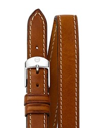 Michele Double Wrap Leather Watch Strap 18Mm Saddle