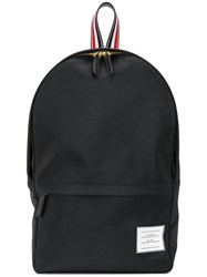 Thom Browne Stripe Detail Backpack Leather Polyester Black